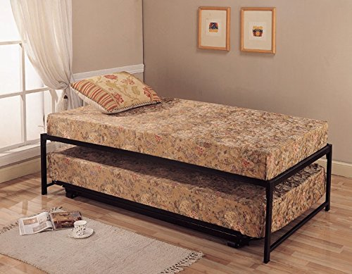 Twin size black finish metal day bed daybed frame pop for Best twin mattress for daybed