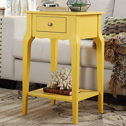 Inspire Q Daniella 1-Drawer Wood Storage Accent End Table by Bold Yellow -