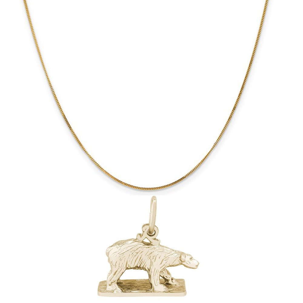 Rembrandt Charms 14K Yellow Gold Polar Bear On Ice Charm on a Curb Chain Necklace, 18''