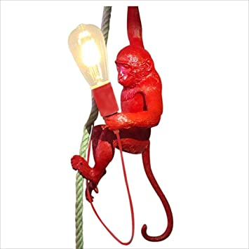 Color : Black Hemp Rope Monkey Chandelier Art Personality Creative Resin Chandelier E27 Vintage Industrial Style Monkey Lamp