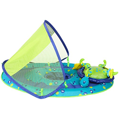 51HBv RXuLL - SwimWays Baby Spring Float Activity Center with Canopy -  Blue/Green Octopus