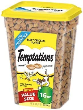 2 Pack of TEMPTATIONS Classic Treats for Cats Tasty Chicken Flavor 16 Ounces