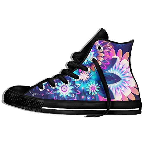 Classic High Top Sneakers Canvas Shoes Anti-Skid Amazing Flower Casual Walking For Men Women Black reUCQW44W