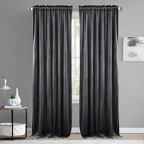 NICETOWN Living Room Blackout Velvet Curtains - Sound Reducing Heavy Matt Solid Rod Pocket Drapes/Panels (2 Panel Per Pack, 84 inch Long, Grey) ()