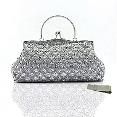 Taidaf Women Vintage and Sequins Evening Party Bags Large Clutch Handbags+Money Clip