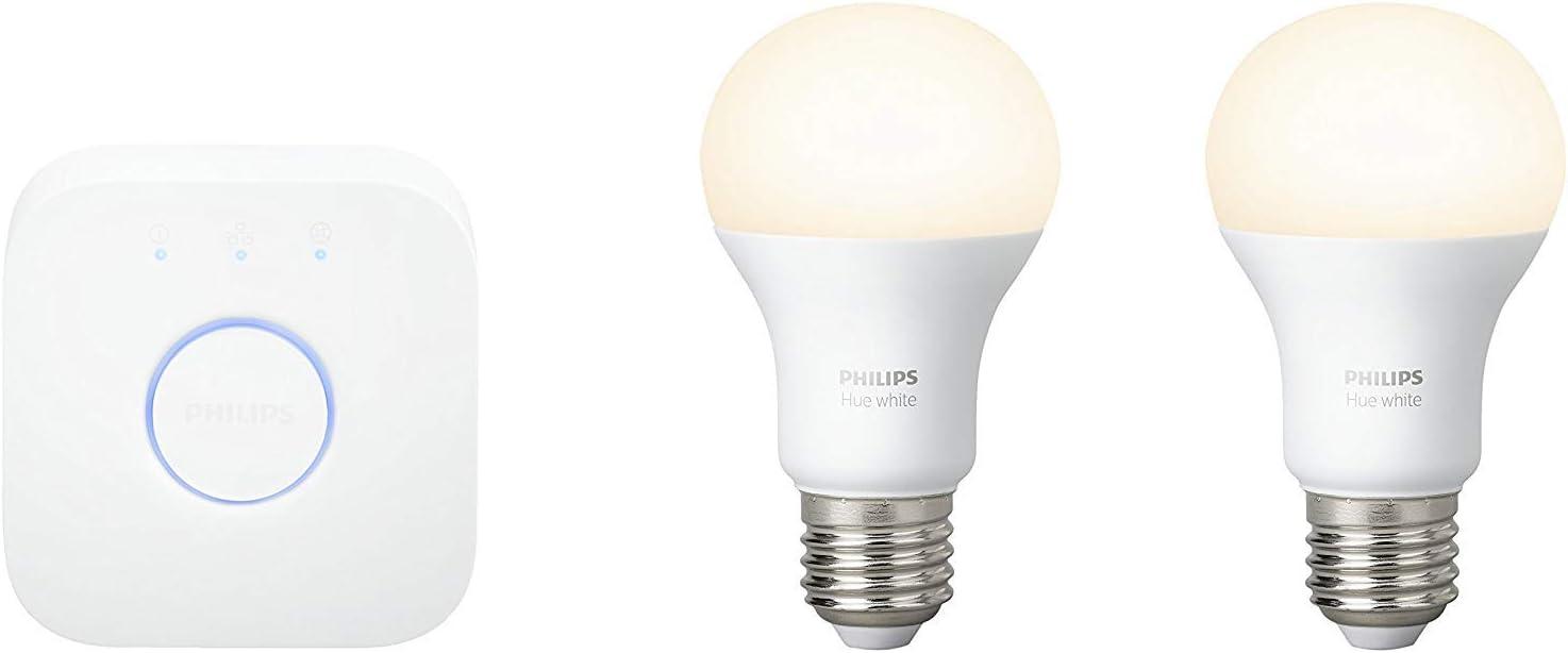Philips Hue Kit 2 Bombillas Inteligentes LED E27 y Puente, 9.55 W ...