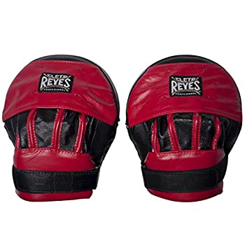 Image of Boxing Pads CLETO REYES Leather Curved Punch Mitts - Black/Red