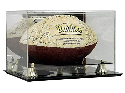 Deluxe Acrylic Football Display Case w/ Mirror Back & Gold Risers