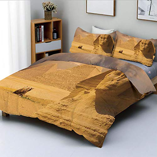 Duplex Print Duvet Cover Set Full Size,The Great Sphinx Face with Other Pyramids in Egypt Old Historical MonumentDecorative 3 Piece Bedding Set with 2 Pillow Sham,Cream,Best Gift for Kids & Adult