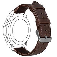 Samsung Gear S3 Frontier/ Classic Watch Band, FanTEK 22mm Genuine Leather Vintage Crazy Horse Replacement Strap Bands for Gear S3 Frontier/ Gear S3 Classic/ Moto 360 2nd Gen 46mm Smart Watch (Coffee)