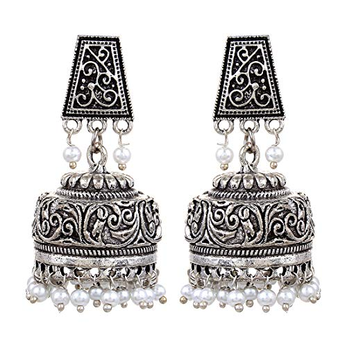 Saissa Oxidized Metal Black Beads Golden Jhumka Indian Earrings Jewelry for Girls and Women