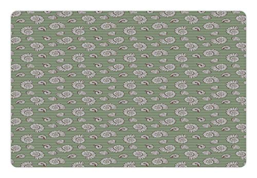 Lunarable Marine Pet Mat for Food and Water, Seashells on Horizontal Stripes Creative Nautical, Rectangle Non-Slip Rubber Mat for Dogs and Cats, Peacock Green Pale Taupe and Redbrown