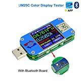 UM25C USB Meter Tester Voltage Current Bluetooth Battery Power Charger Voltmeter Ammeter Multimeter Tester, 1.44 Inch Color LCD Display USB 2.0 Type- C Cable Resistance Load Impedance Meter