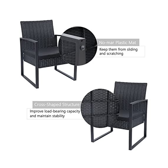 Flamaker 3 Pieces Patio Set Outdoor Wicker Patio Furniture Sets Modern Bistro Set Rattan Chair Conversation Sets with Coffee Table for Yard and Bistro (Black) - 【Simple & Practical】 Closed armrest and leg design makes the chair simple but modern and no need to worry about the rattan falling off when they are used after a long time. 【Sturdy & Durable】The powder coated steel frame are rust-proof and high-quality hand woven weather-resistant PE wicker won't fade.Each seat supports up to 250 pounds. 【Upgraded Comfort】The wide and deep chairs cushioned by very soft padded seat cushions will make you forget your fatigue and enjoy your leisure time completely. - patio-furniture, patio, conversation-sets - 51HBxFc362L. SS570  -