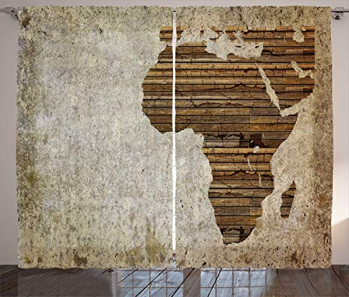 Ambesonne African Curtains, Geography Theme Grunge Vintage Wooden Plank and Map Digital Print, Living Room Bedroom Window Drapes 2 Panel Set, 108 W X 63 L Inches, Tan Umber