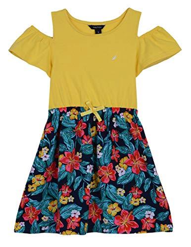 Young Girls Dress (Nautica Girls' Cold Shoulder Fashion Dress hawaiian yellow)