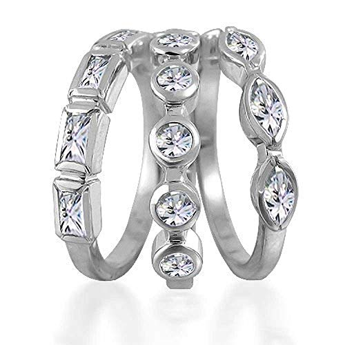 3 Set Geometric Cubic Zirconia Baguette Marquise Round CZ Stackable Wedding Band Ring Set For Women 925 Sterling Silver ()