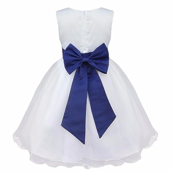 iEFiEL Vestido Blanco de Princesa Fiestas Boda para Niñas Vestidos Elegantes de Noche Flor: Amazon.es: Ropa y accesorios