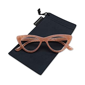 66c28a9a77c6 Image Unavailable. Image not available for. Color: 2SeeLife Cat Eye Reading  Glasses Vintage Glitter Glasses Frame for Women ...