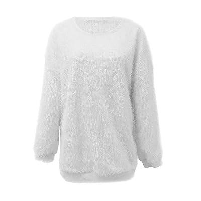 Fuxitoggo Suéter de Manga Larga y cálida con Mangas largas y cálidas de Punto Suelto y Peludo para Mujer (Color : Blanco, tamaño : Medium): Hogar