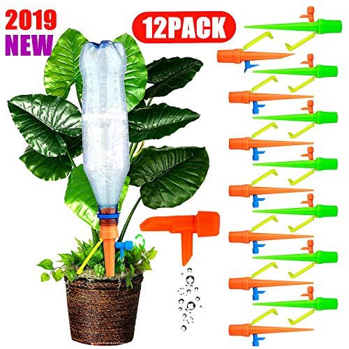Plants Automatic Watering Spikes Self Watering Devices Drippers For Potted Plant Flower Indoor Outdoor, Slow Release Control Valve Irrigation System Waterer for Holiday Vocation Garden Lawn 12 - Potted Flowers Plants And