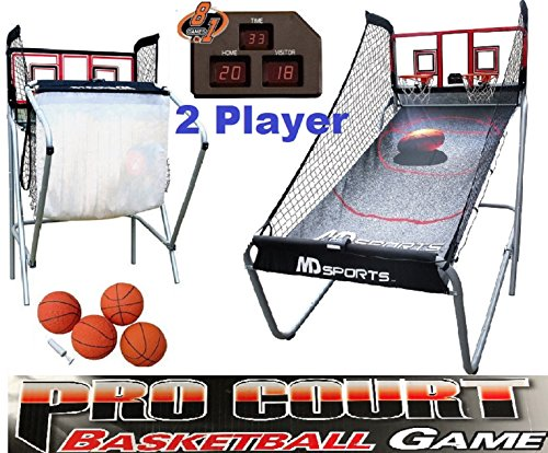 MD Sports Basketball Pro Court 2-Player w/ 8 Games Electronic Scoreboard