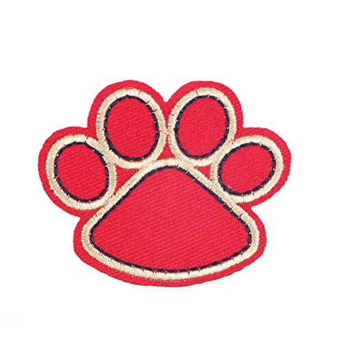 Patches - 1pcs Red Black Dog Paw Iron On Diy Patch Melt Adhesive Applique Embroidery Ing Accessory - Animal Rainbow Girl Cool Beads Alphabet Inkjet Emoji Knee Sheets Black Embroidered Pants