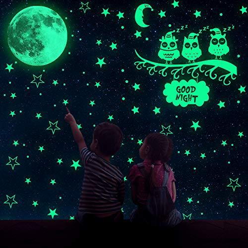 MMTX Luminoso Pegatinas de Pared, Luminosas pLuna Estrellas Puntos Pegatinas de Pared con 508 Pegatinas Adhesivas…