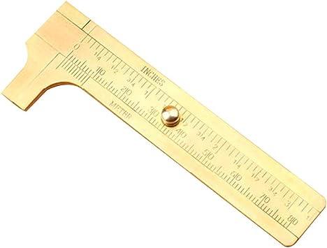 New Metal Scale Brass Sliding Gauge Vernier Caliper Ruler Pocket Measuring Tool