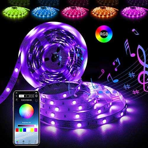 Music Led Strip Lights RGB Rope Lights 16.4ft Bluetooth Strip Lights Mood Lighting Led Strips Phone App Controlled Dimmable Strip tv Led Backlight Color Changing Led Lights 12V Power Supply for Room