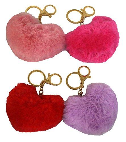 Soft Fur Heart Pom Pom Keychains Bag Accessory, 4 Different Color Pom Pom Charms