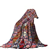 QINYAN-Home Super Soft Throw Blanket Custom(60'x60') Custom Blankets for Bed Couch Chair CampingNative American Decor Ethnic Nomadic Rug Looking Seamless Pattern.