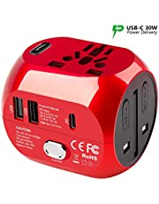Universal Travel Adapter,UPPEL Universal All in one Power Plug USB Converter with QC3.0 & PD Function Charger, European Plug Adapter Voltage Adaptor, Used in UK/US/EU AU/Asia(200 Countries)