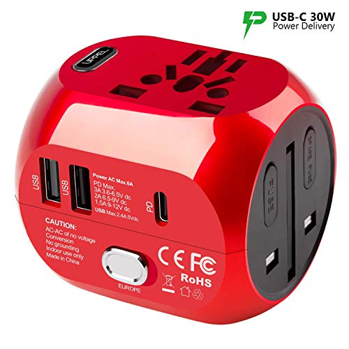 UPPEL Universal Travel Adapter International Power Adapter and Converter Charger with 2 USB+ 1PD(Type-C Quick Charging…