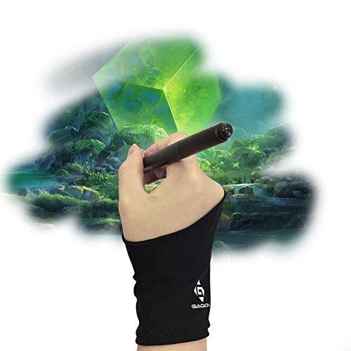 GAOMON Two-Finger Anti-Skid Black Artist Lycra Glove for Graphics Tablet/LED Light Box/Pen Display-Free Size