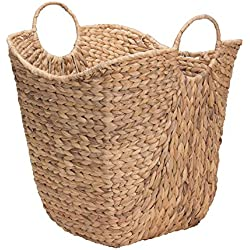 Household Essentials ML-4002 Tall Water Hyacinth Wicker Basket with Handles | Natural