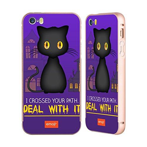 Officiel Emoji Chat Noir Parodies D'halloween Or Étui Coque Aluminium Bumper Slider pour Apple iPhone 5 / 5s / SE