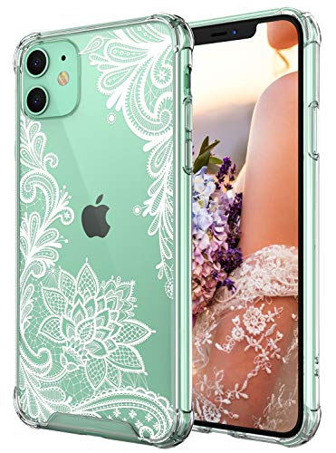 : Cutebe Case for iPhone 11, Shockproof Series Hard PC+ TPU Bumper Protective Case for Apple iPhone 11 6.1 Inch Crystal Lace Design(White)