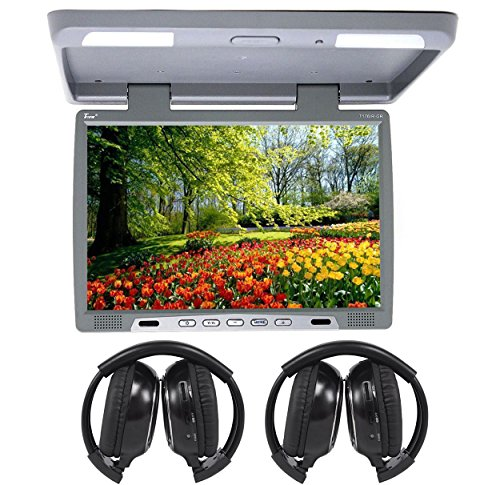 TView T176IR Gray 17″ Car Video Flip Down Overhead Monitor +2 Wireless Headsets