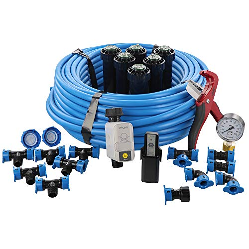 Orbit 50022 In-Ground Blu-Lock Tubing System and B-Hyve Smart Hose Faucet Timer with Wi-Fi Hub Sprinkler Kit