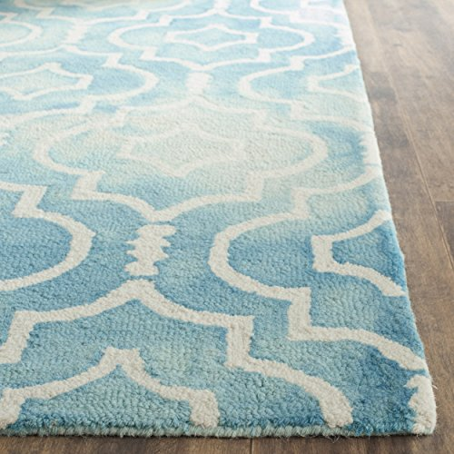 Safavieh Dip Dye Collection DDY538D Handmade Vibrant Geometric Moroccan Watercolor Turquoise and Ivory Wool Area Rug (2' x 3')