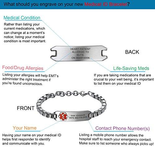 Divoti Deep Custom Laser Engraved Lovely Filigree Medical Alert Bracelet -Stainless Heart Link -White-6.5'' by Divoti (Image #5)