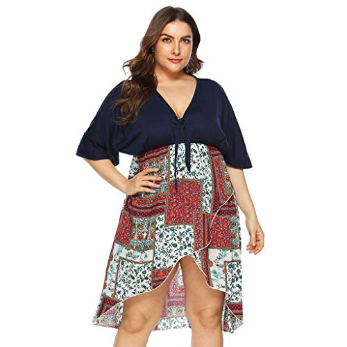(Dress for Women Plus Size Casual Women V Neck Above Knee Dress Summer Party Dress)