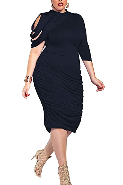 Sopliagon Women Bodycon Dress Solid Asymmetric Midi Dresses ...