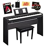 Yamaha P-45 Digital Piano Bundle with Yamaha L-85 Stand, Furniture-Style Bench, Sustain Pedal, Instructional Book, Austin Bazaar Instructional DVD, and Polishing Cloth - Black