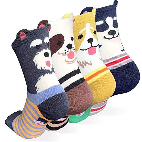 Happytree Cute Design Casual Cotton Crew Socks, Cat Socks, Dog Socks, Animal Socks, Good for Gift (Dog Ringle 4)