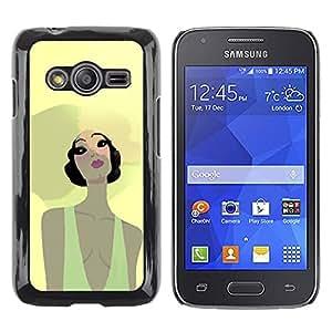 Shell-Star Arte & diseño plástico duro Fundas Cover Cubre Hard Case Cover para Samsung Galaxy Ace4 / Galaxy Ace 4 LTE / SM-G313F ( Beach Summer Girl Portrait Big Hat Yellow )