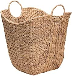 Household Essentials ML 4002 Tall Water Hyacinth Wicker Basket With Handles    Natural