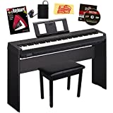 Yamaha P-45 Digital Piano - Black Bundle with Yamaha L-85 Stand, Furniture Bench, Instructional Book, Austin Bazaar Instructional DVD, and Polishing Cloth