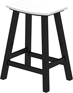 product image for POLYWOOD 2011-FBLWH Contempo Counter Height Saddle Seat Barstool, Black Frame, White